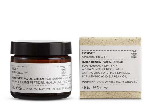 evolve daily renew facial cream next to packaging