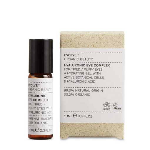 Evolve Hyaluronic Eye Complex next to packaging