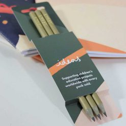 recycled gold pencils in their packaging