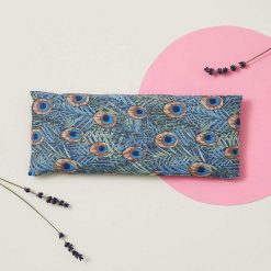eye pillow with peacock feathers design