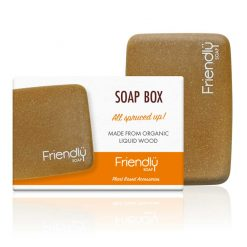 friendly soap soap box next to packaging