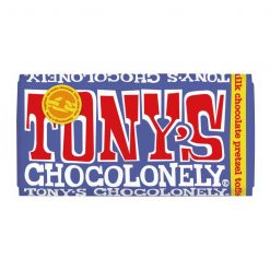 tonys chocolonely dark milk pretzel toffee chocolate bar