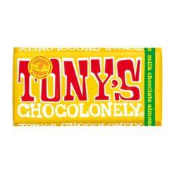 tonys chocolonely milk alond honey and nougat chocolate bar