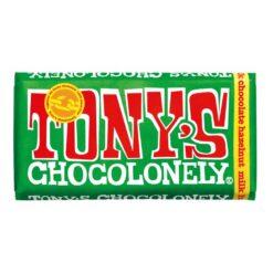 tonys chocolonely milk hazelnut chocolate bar 180g