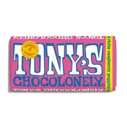 tonys chocolonely white raspberry popping candy chocolate bar